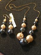 Gold Tone Roc Necklace W/earrings With Silver And White Faux Pearlsestate Item