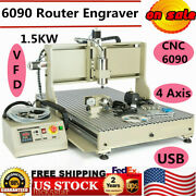 4 Axis Cnc 6090 Usb Diy Router Engraving Milling Machine Engraver 1.5kw
