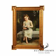 Victorian Style Framed Oil Painting Of Young Girl Reading Book