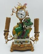 A French Gilt Bronze Chinese Clock With Electric Candle Holder Circa1880-1900
