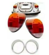 Vw Beetle Bug Fusca Amber / Red / White Tail Light Lens