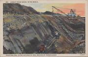 Postcard Largest Steam Shovel In World Stripping Coal Pennsylvania Pa