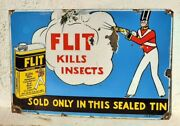 Antique Old Flit Insecticide Flies Mosquito Kills Ad Porcelain Enamel Sign Board