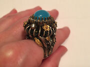 Unique Oriental Sterling Silver Ring Rococo Blue Chalcedony Cz Ring 7.75, 26.5g