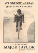 Major Taylor Exhibition Bicycle Poster At The Velodrome Dand039arras 1900 - Very Rare