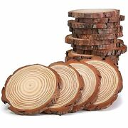 Guwei Natural Wood Slices 3-3.5 Inch 20 Pcs With Tree Bark Circles Log Discs For