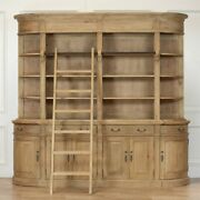 Large Wooden Antique Natural Finish Bookcase With Ladder High Quality And Unique