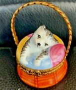 Limoges Parry Vieille Hand-painted Signed Porcelain Trinket Box Cat In Basket