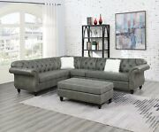 Formal 4pcs Sectional Sofa Slate Grey Loveseat Wedge Armless Chair Leatherette