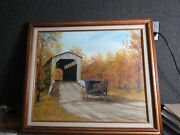 Painting By James W. Maddocks New England Scene Horse And Buggy Covered Bridge