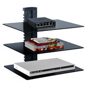 Floating Adjustable Wall Mounted Shelf Under Tv With Strengthened Tempered Glass