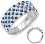 Large 1.33ct Diamond And Aaa Sapphire 14kt White Gold Multi Row Anniversary Ring