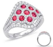 Large 1.37ct Diamond And Aaa Ruby 14kt White Gold 3d Multi Flower V Shape Fun Ring