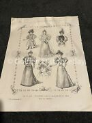 Antique Old Fashion Unmounted Print Art Early Printing French Wedding Dresses