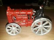 Antique Cast Iron Toy Tractor Ford Red Vintage Farm Toys