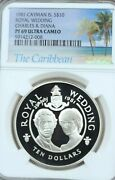 1981 Cayman Islands Silver 10 Dollars Charles And Diana Ngc Pf 69 Ultra Cameo Top