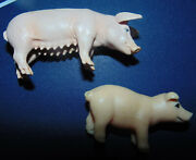 2 Schleich Pig And Baby Piglet Plastic Small Farm Animal Vintage Lot Set Rare