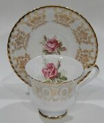Vint 1960s Paragon Pink Rose Cup And Saucer Gold Filigree Details Mint Condition