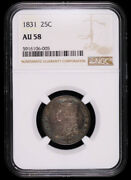1831 Capped Bust Silver Quarter Dollar Coin Ngc Au58 Nice Toned