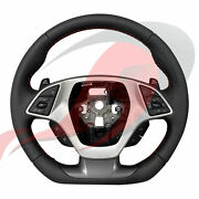 2014-2019 C7 Corvette Manual Leather D-shaped Steering Wheel Red Stitching