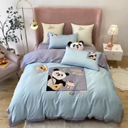 Cute Cartoon Panda Applique Embroidery Egyptian Bedding Set Cover Bed Sheet