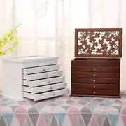 6 Layers Wooden Jewelry Box Jewelry Display Casket Earrings Ring Boxes Jewelry