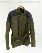 Belstaff Darlington Moto Jacket W/ Quilted Leather Accents- Olive Green Size 52