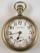 Illinois Pocket Watch Open Face 17 Jewels Size 18 Silverode Case Mafw11