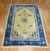 Antique Inscribed Chinese Peking Rug Size 5'x7'9''