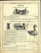 1890s Paper Ad Kankakee Wooden Duck Decoy Canvas Collapsible Geese Goose Call