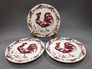 3 Wellsville China Red Rooster Vintage Restaurant Ware Plate 8 1/4 - Rare