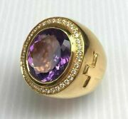 4 Ct Round Cut Amethyst Diamond Engagement Men's Pinky Ring 14k Yellow Gold Over