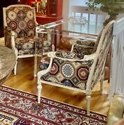 Gorgeous Pair Of Vintage Crackle Painted Gilded French Louis Xv Bergereandrsquos Chairs