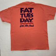 Vintage 90s Fat Tuesday West Palm Beach Shirt Xl Florida Single Stitch Peach