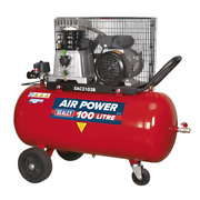 Sealey Compressor 100l Belt Drive 3hp With Cast Cylinders And Wheels Garage Wor...