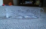 Vtg Clear Glass Long Narrow 2 Handle Serving Dish Middle Hald Moon Area