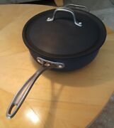 Vintage Calphalon Commercial 4 Qt Hard-anodized Chef's Pan And Domed Lid Usa