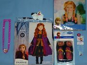 Disney Frozen Ii Anna Costume Dress Cape-girls 4-6-nw Wig-shoes-accessories-lot