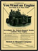 1911 Nichols And Shepard Traction Engine New Metal Sign Large Size 12 X 16