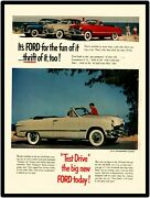 1950 Ford Automobiles Vintage Look New Metal Sign Ford Convertible At The Beach