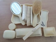 Very Rare Antique Art Deco Xylonite Celluloid Complete Dressing Table Set