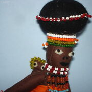 Vintage 7 1/2 South African Zulu Beaded Mother And Baby Cloth Dolls 1950s-60