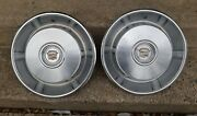 2 66-67 Cadillac Hubcaps Oem Driver Condition Fleetwood Deville Stainless 15