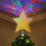 Christmas Tree Topper Star Gold Glitter 3d Led Rotating Wave Projector Lights