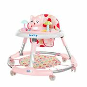 Cute Cat Foldable Baby Walker Wheel Anti Rollover Car Tray Seat Height Toddler