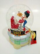 Betty Boop Snow Globe W/ Tag At The Hop Westland 6827 Diner Musical Globe