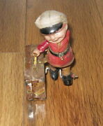 Vtg Wind Up C.k Trademark Man Suitcase Walking Litho Tin And Celluloid Toy Japan