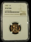 1957 P Proof Lincoln Cent Ngc Pf 67 Rd