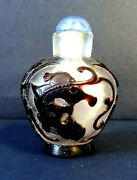 Antique Chinese Peking Glass Carved Plum Overlay Snuff Bottle