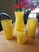 Vintage Spaghetti String Pitcher Yellow With 3 Glasses Retro Rubber Coating
